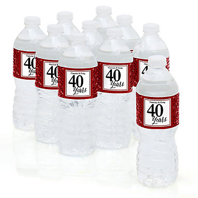 We Still Do - 40th Wedding Anniversary - Personalized Wedding Anniversary Water Bottle Label Favors