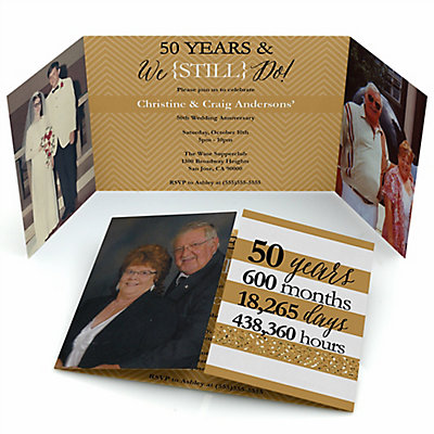 We Still Do - 50th Wedding Anniversary - Personalized Wedding Anniversary Photo Invitations