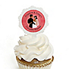 Custom Wedding Couples Coral - Personalized Bridal Shower Cupcake Pick and Sticker Kit -  12 ct