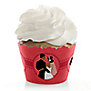 Custom Wedding Couples Coral - Bridal Shower Cupcake Wrappers