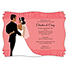 Custom Wedding Couples Coral - Personalized Bridal Shower Invitations