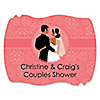 Custom Wedding Couples Coral - Personalized Bridal Shower Squiggle Sticker Labels - 16 ct