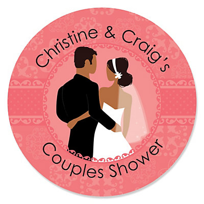 Custom Wedding Couples Coral - Personalized Bridal Shower Sticker Labels - 24 ct