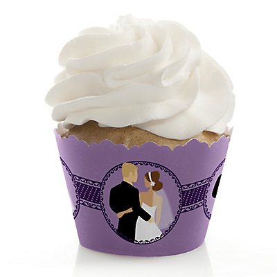 Custom Wedding Couples Purple - Bridal Shower Cupcake Wrappe...