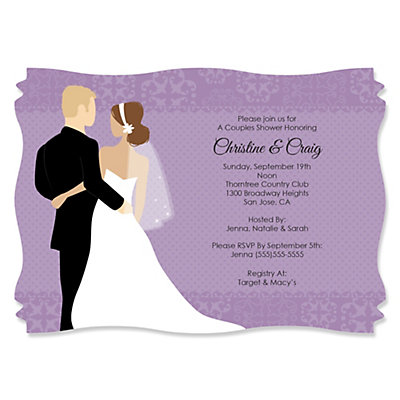 Custom Wedding Couples Purple - Personalized Bridal Shower Invitations
