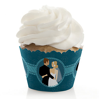 Custom Wedding Couples Teal - Bridal Shower Cupcake Wrappers...