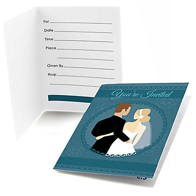 Custom wedding couples teal bridal shower fill in for Bridal shower fill in invitations