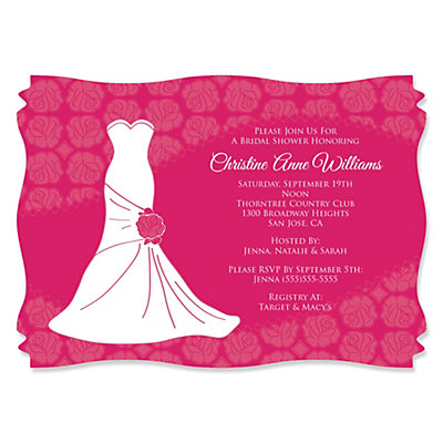 Wedding Dress Pink - Personalized Bridal Shower Invitations