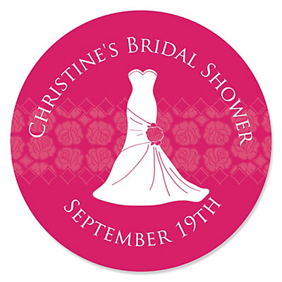 Wedding Dress Pink - Personalized Bridal Shower Sticker Labels - 24 ct