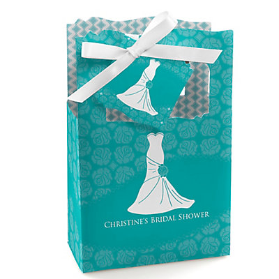 Wedding dress aqua personalized bridal shower favor boxes