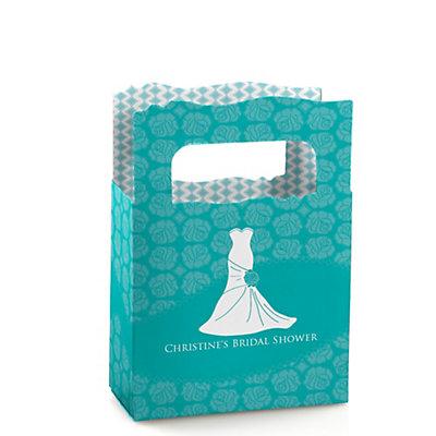 Wedding dress aqua personalized bridal shower mini favor boxes