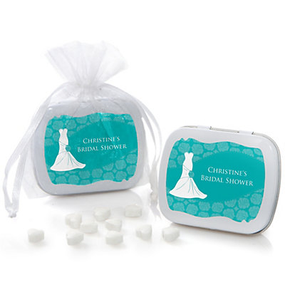 Wedding Dress Aqua - Personalized Bridal Shower Mint Tin Fav...