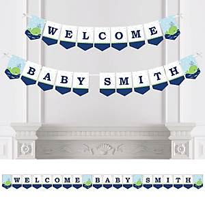 Tale Of A Whale - Personalized Baby Shower Bunting Banner