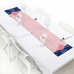 Tale Of A Girl Whale - Personalized Baby Shower Petite Table Runners