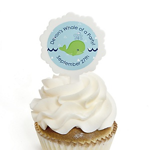 Tale Of A Whale - 12 Cupcake Picks & 24 Personalized Stickers - Baby Shower Cupcake Toppers