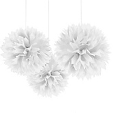White Tissue Paper Pom Poms - Baby Shower Decorations - Set of 3