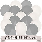 White and Gray - Party Latex Balloons - 16 ct