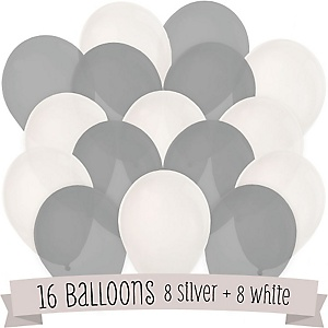 White and Gray - Baby Shower Balloon Kit - 16 Count