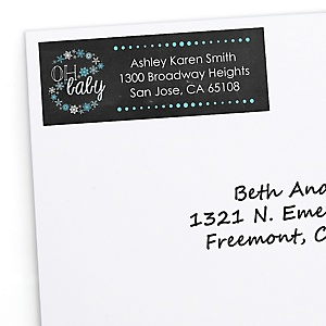 Oh Baby - Winter - Personalized Baby Shower Return Address Labels - 30 ct
