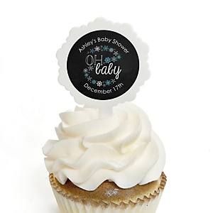 Oh Baby - Winter - 12 Cupcake Picks & 24 Personalized Stickers - Baby Shower Cupcake Toppers