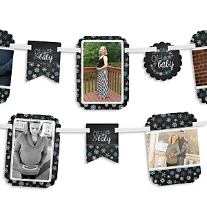 Oh Baby - Winter - Baby Shower Photo Bunting Banner