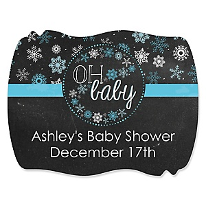 Oh Baby - Winter - Personalized Baby Shower Squiggle Stickers - 16 ct