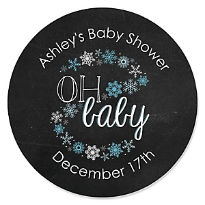 Oh Baby - Winter - Personalized Baby Shower Sticker Labels - 24 ct