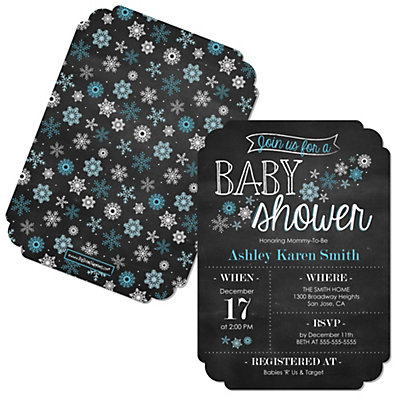 Oh Baby - Winter - Shaped Baby Shower Invitations Baby Shower Party Supplies