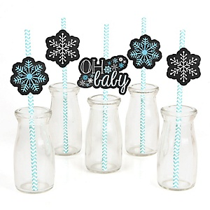 Oh Baby - Winter - Paper Straw Decor - Baby Shower or Birthday Party Striped Decorative Straws - Set of 24