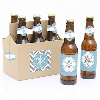Winter Wonderland - Snowflake Holiday Party & Winter Wedding - 6 Beer Bottle Label Stickers and 1 Carrier