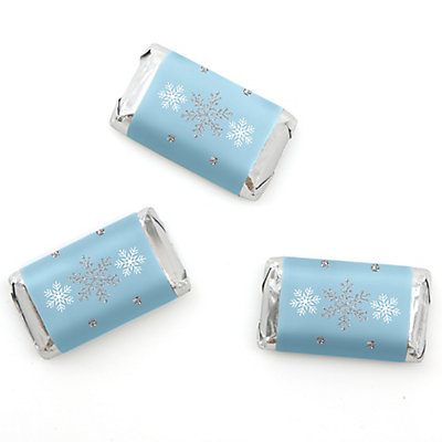 Winter Wonderland - Snowflake Holiday Party & Winter Wedding Mini Candy Bar Wrapper Favors - 20 ct