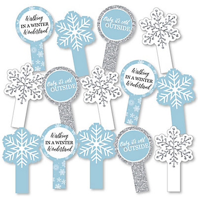 Winter Wonderland - Snowflake Holiday Party & Winter Wedding Party Paddle Photo Booth Props – Selfie Photo Booth Props – Set of 14