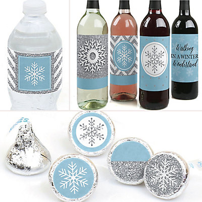 Winter Wonderland - Snowflake Holiday Party & Winter Wedding Party Decorations & Favors Kit - Wine, Water and Candy Labels Trio Sticker Set