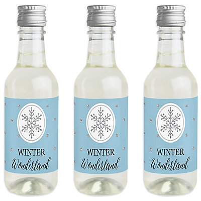 Winter Wonderland - Mini Wine and Champagne Bottle Label Stickers - Snowflake Holiday Party & Winter Wedding Party Favor Gift - Set of 16