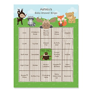 Woodland Creatures - Bingo Personalized Baby Shower Games - 16 Count