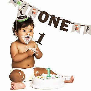 Woodland Creatures - 1st Birthday Smash Cake Kit - High Chair Decorations