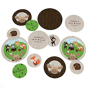 Woodland Creatures - Personalized Baby Shower Table Confetti - 27 Count
