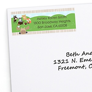 Woodland Creatures - Personalized Baby Shower Return Address Labels - 30 Count