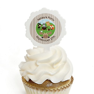 Woodland Creatures - 12 Cupcake Picks & 24 Personalized Stickers - Baby Shower Cupcake Toppers