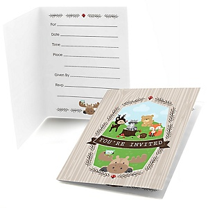 Woodland Creatures - Fill In Baby Shower Invitations - Set of  8