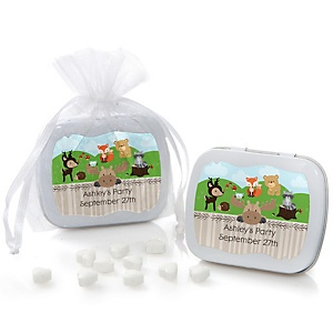 Woodland Creatures - Mint Tin Personalized Baby Shower Favors