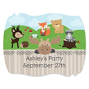 Woodland Creatures - Personalized Baby Shower Squiggle Sticker Labels - 16 Count