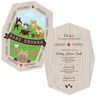 woodland creatures baby shower decorations & theme, Baby shower invitations
