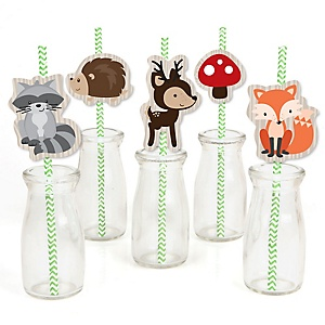 Woodland Creatures - Paper Straw Decor - Baby Shower or Birthday Party Striped Decorative Straws - Set of 24
