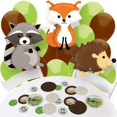 woodland creatures confetti and balloon party decorations combo kit