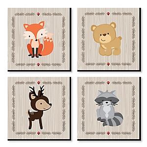 "Woodland Creatures - Nursery Decor - 11"" x 11"" Kids Wall Art - Christmas Gift Ideas - Set of 4 Prints for Baby's Room"