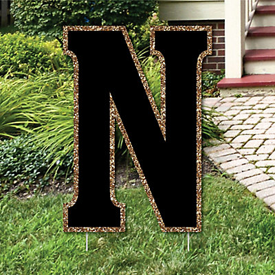 Yard letter n black and gold 15 5 letter outdoor lawn for Letter n decorations