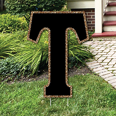 Yard letter t black and gold 15 5 letter outdoor lawn for Letter t decoration