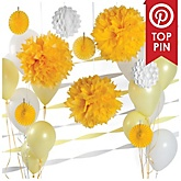 Yellow and White Decoration Kit for Baby Showers