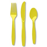 Yellow - Baby Shower Forks, Knives, Spoons - 24 Count